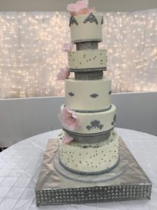 Wedding White and Silver Cake